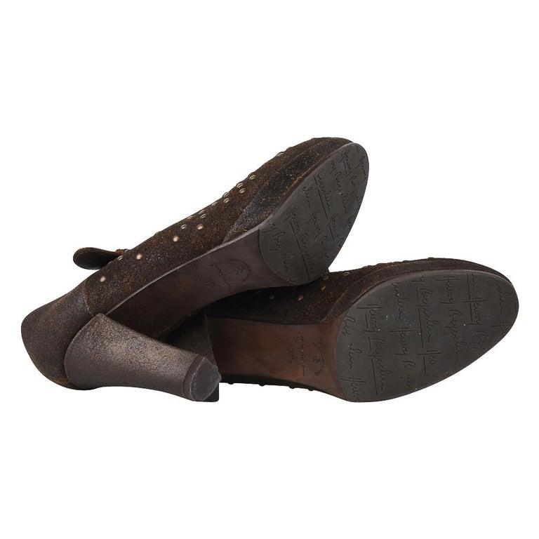 Henry Beguelin Shoe Nubuck Suede Stud Hardware 39.5 / 9.5 For Sale 5