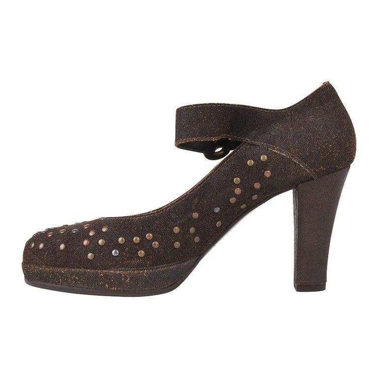 Women's Henry Beguelin Shoe Nubuck Suede Stud Hardware 39.5 / 9.5 For Sale
