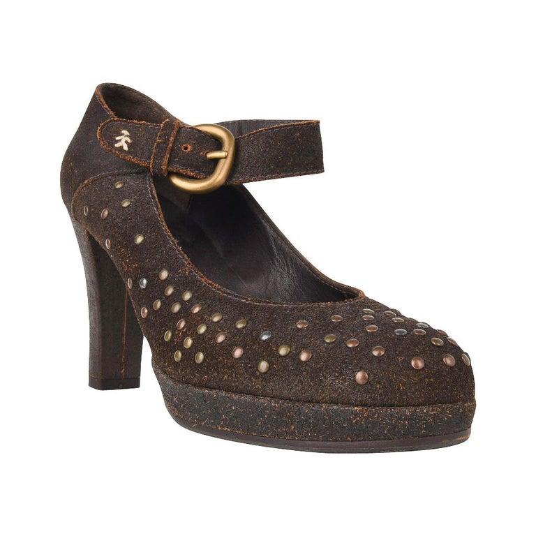Henry Beguelin Shoe Nubuck Suede Stud Hardware 39.5 / 9.5 For Sale 1