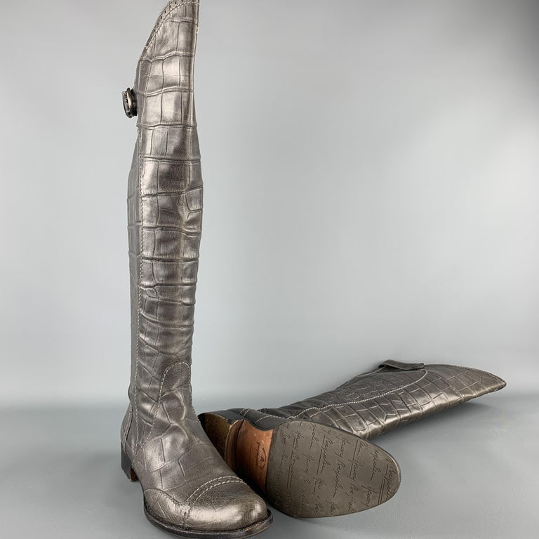 Gray HENRY BEGUELIN Size 8.5 Grey Crocodile Embossed Leather Knee High Boots For Sale