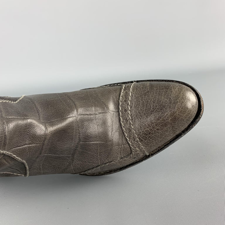 HENRY BEGUELIN Size 8.5 Grey Crocodile Embossed Leather Knee High Boots In Good Condition For Sale In San Francisco, CA