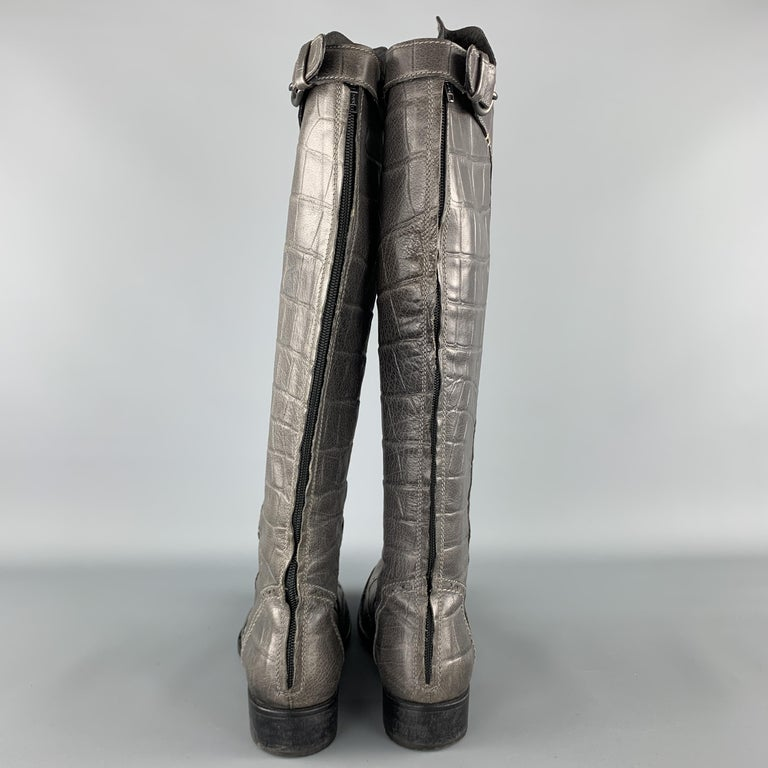 Women's HENRY BEGUELIN Size 8.5 Grey Crocodile Embossed Leather Knee High Boots For Sale