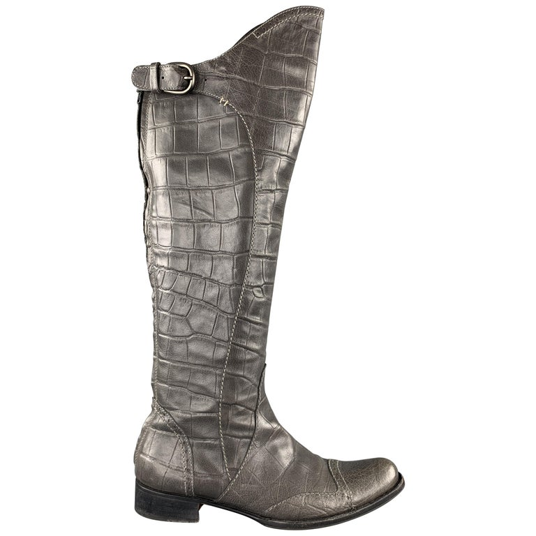 HENRY BEGUELIN Size 8.5 Grey Crocodile Embossed Leather Knee High Boots For Sale