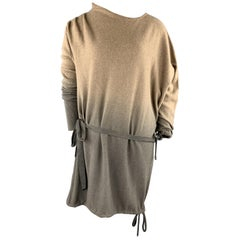 HENRY BEGUELIN Size M Taupe & Grey Ombre Asymmetrical Cashmere Dress