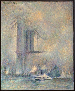 """Brooklyn Bridge, New York City,"" Foggy Day with Boats, Cityscape, East River"