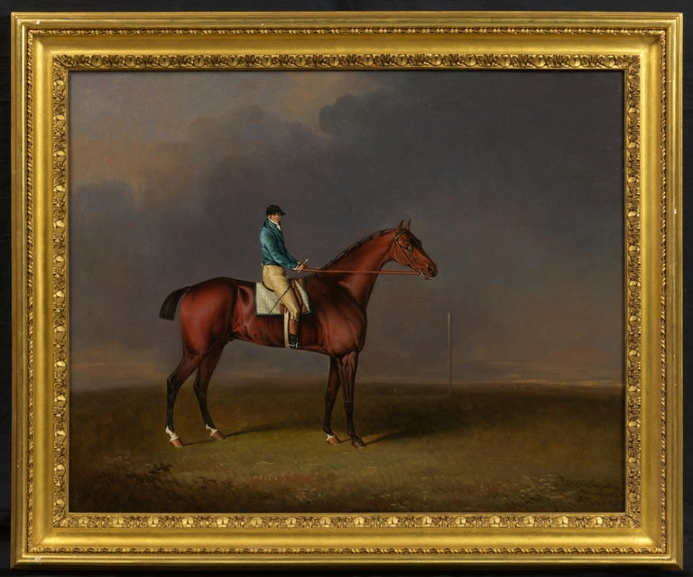 Henry Bernard Chalon 1770-1849 Sir David, a Bay Racehorse owned by H. R. H. The Prince of Wales, with Samuel Chisney up, on Newmarket Heath Signed, inscribed and dated 'H. B. Chalon pinxt/Newmarket/1807' oil on canvas 71.1 x 91.4 cm 28 x 36 in