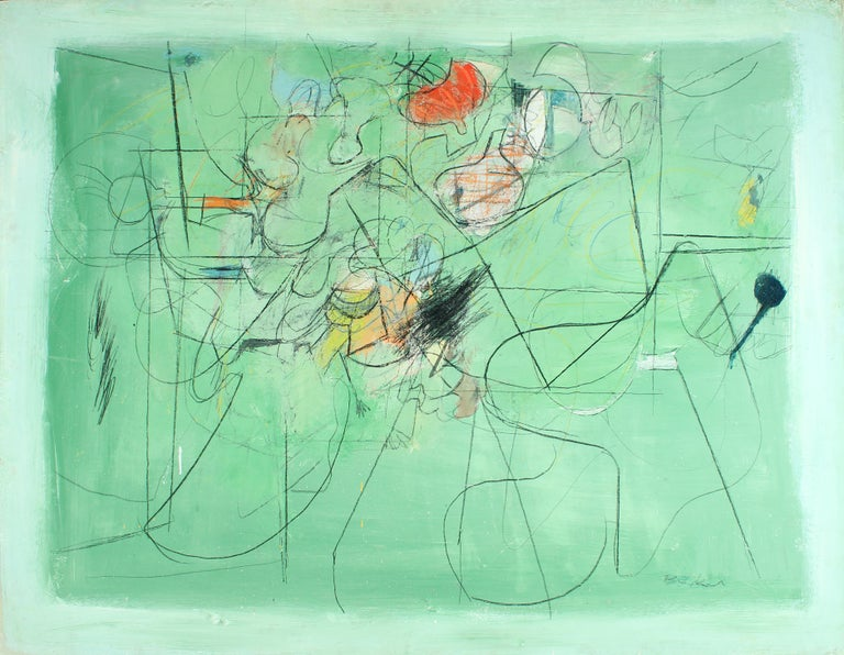 Henry Botkin Abstract Painting - Open Green