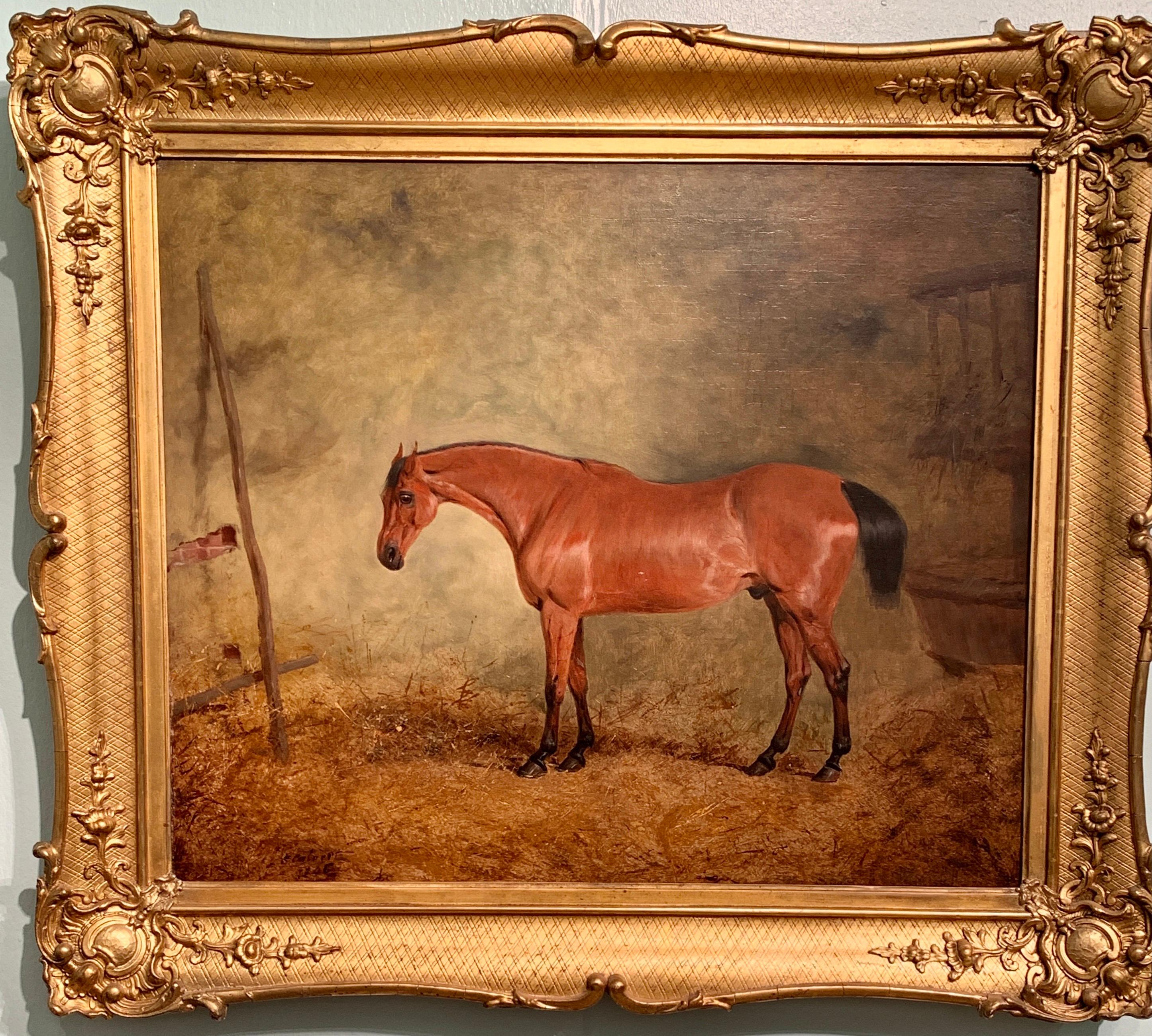 19th Century English Antique chestnut Hunter horse in a stable, called Business