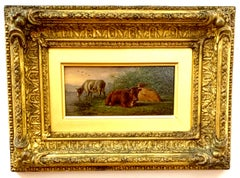 19th century Antique English Farm scene with cows resting in a landscape