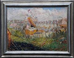 Grays Funfair Landscape - British 20s Impressionist art fairground oil painting
