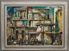 Vintage American Modernist Street Scene Oil Painting Philadelphia by Henry Pitz