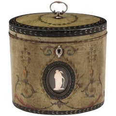 Henry Clay Polychrome Wedgewood Jasperware Oval Tea Caddy