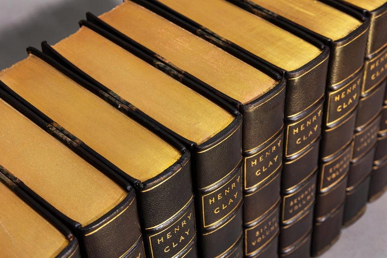 """Edited by Calvin Colton and A History of Tariff Legislation (1812-1896) by William McKinley.  Bound in 3/4 black Morocco, marbled boards, top edges gilt, raised bands, gilt panels. Frontispieces. """"Connoisseur's Federal Edition"""" limited to 400"""