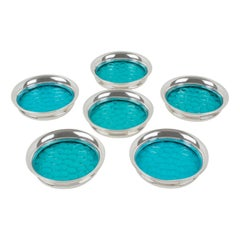 Henry Clifford Davis Sterling Silver Blue Glass Coaster, Set of Six
