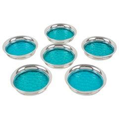 Henry Clifford Davis Sterling Silver Blue Glass Coaster, set of six