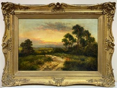 Antique English Signed Oil Shepherd with Sheep Pastoral Sunset Landscape