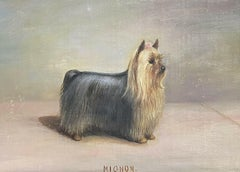 ANTIQUE ENGLISH DOG PAINTING SIGNED OIL - YORKSHIRE TERRIER DOG LONG COATED