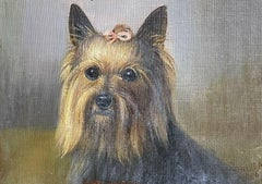 ANTIQUE ENGLISH DOG PAINTING SIGNED OIL - YORKSHIRE TERRIER DOG WITH PINK BOW