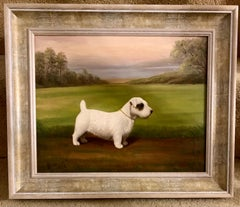English early 20th century portrait of a Sealyham terrier in a landscape
