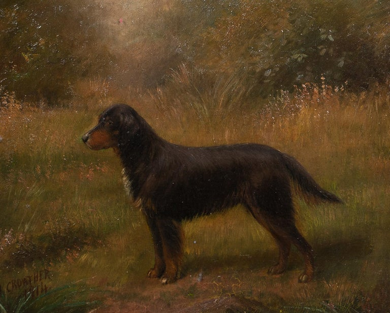 Portrait Of A Gordon Setter, dated 1914 - Brown Portrait Painting by Henry Crowther
