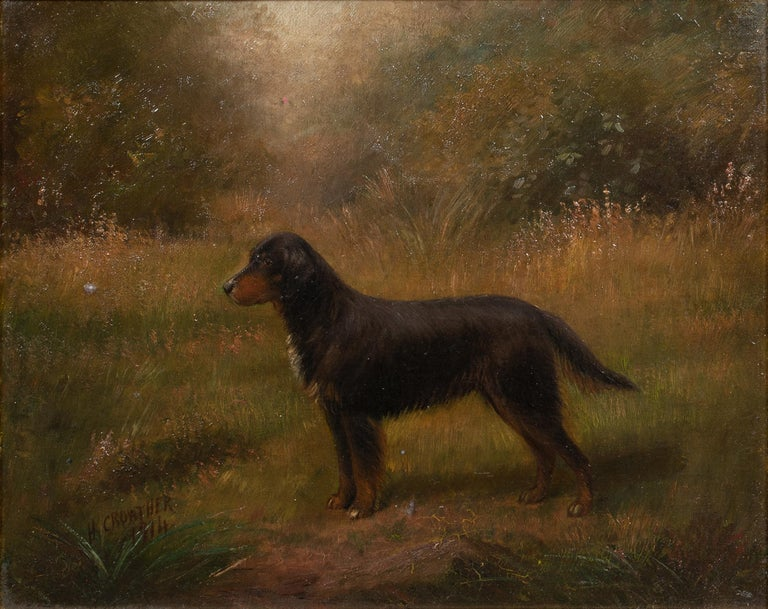 Henry Crowther Portrait Painting - Portrait Of A Gordon Setter, dated 1914