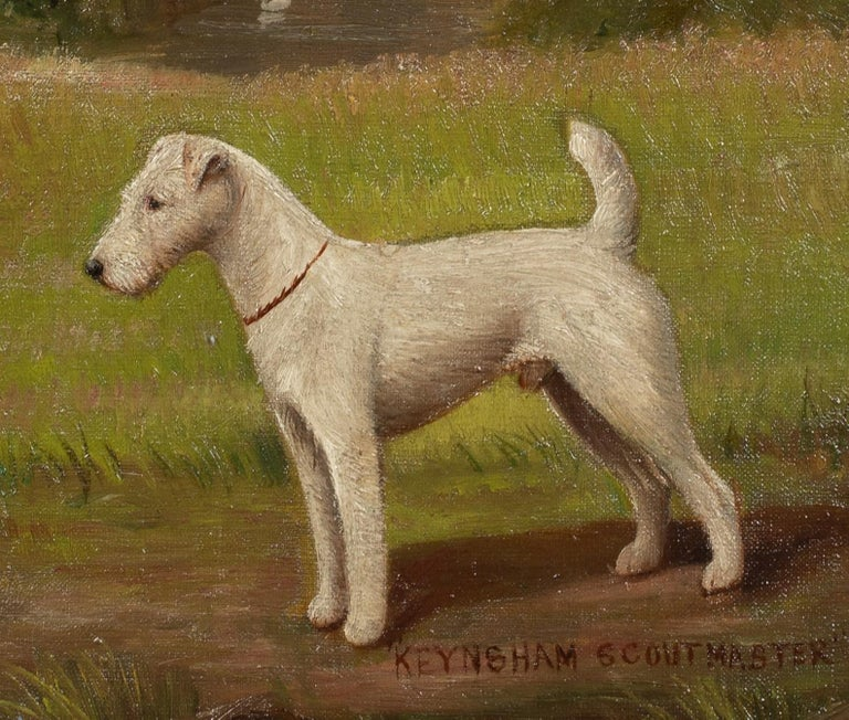 Portrait of 'Keynsham Scoutmaster', a Wire-haired Fox Terrier, circa 1900 - Painting by Henry Crowther