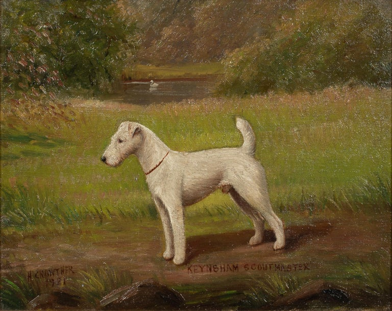 Portrait of 'Keynsham Scoutmaster', a Wire-haired Fox Terrier, circa 1900 - Brown Portrait Painting by Henry Crowther