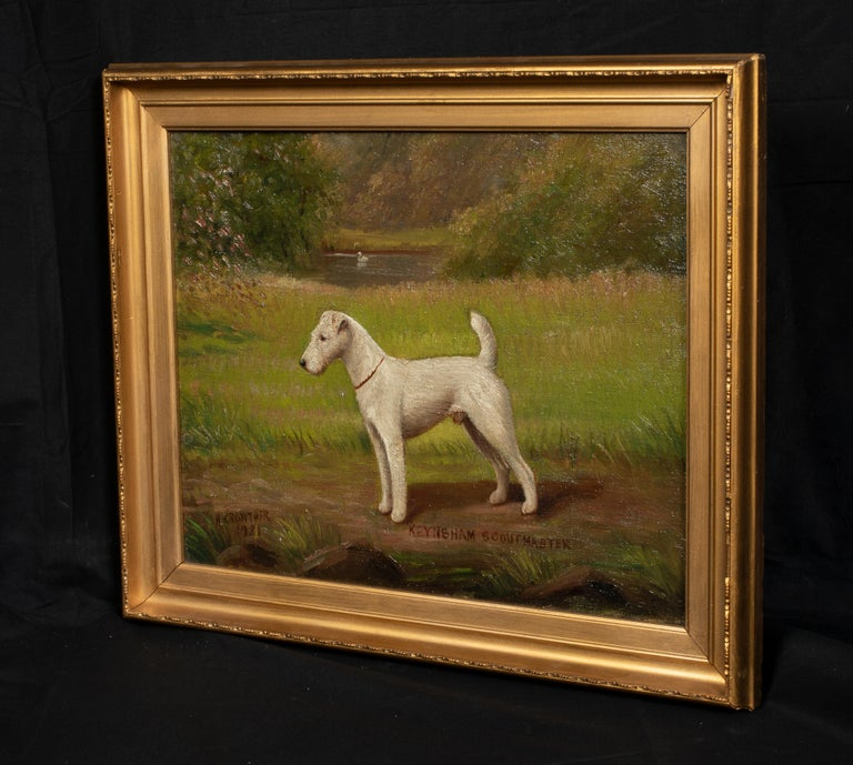 Portrait of 'Keynsham Scoutmaster', a Wire-haired Fox Terrier, circa 1900  by Henry Crowther (1905-1939) - Proflific British Dog Painter  Circa 1900 English Portrait of 'Keynsham Scoutmaster', a Wire-haired Fox Terrier by Henry Crowther. Good