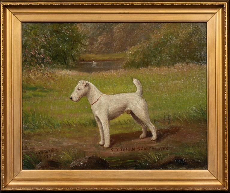 Henry Crowther Portrait Painting - Portrait of 'Keynsham Scoutmaster', a Wire-haired Fox Terrier, circa 1900