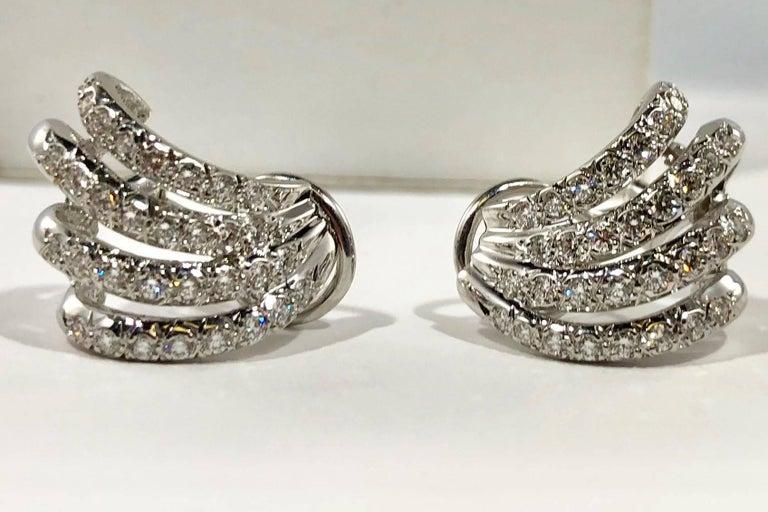 Henry Dankner & Sons 18 Karat White Gold and Diamond Climber Earrings For Sale 5