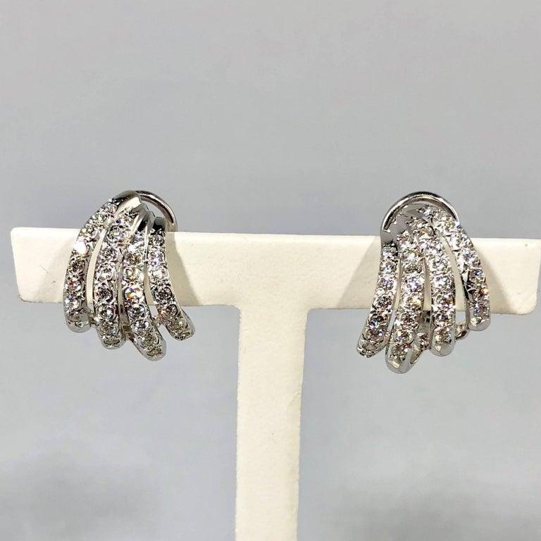 Modern Henry Dankner & Sons 18 Karat White Gold and Diamond Climber Earrings For Sale
