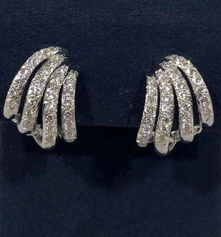Round Cut Henry Dankner & Sons 18 Karat White Gold and Diamond Climber Earrings For Sale