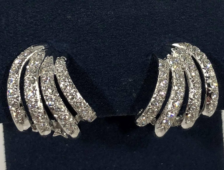 Henry Dankner & Sons 18 Karat White Gold and Diamond Climber Earrings In New Condition For Sale In Mansfield, OH