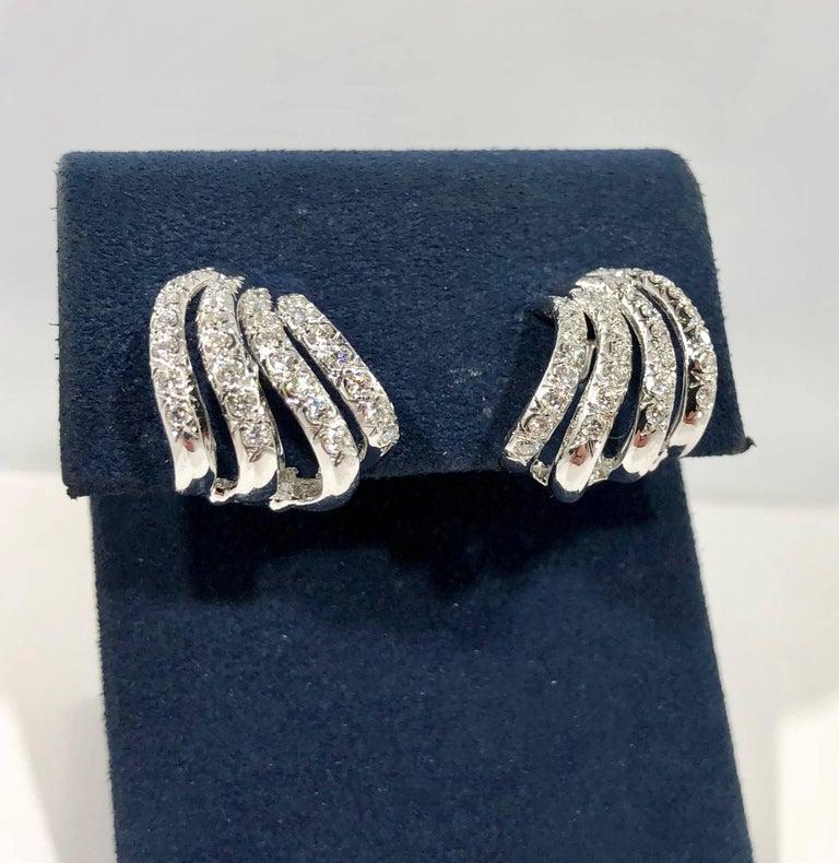 Women's Henry Dankner & Sons 18 Karat White Gold and Diamond Climber Earrings For Sale