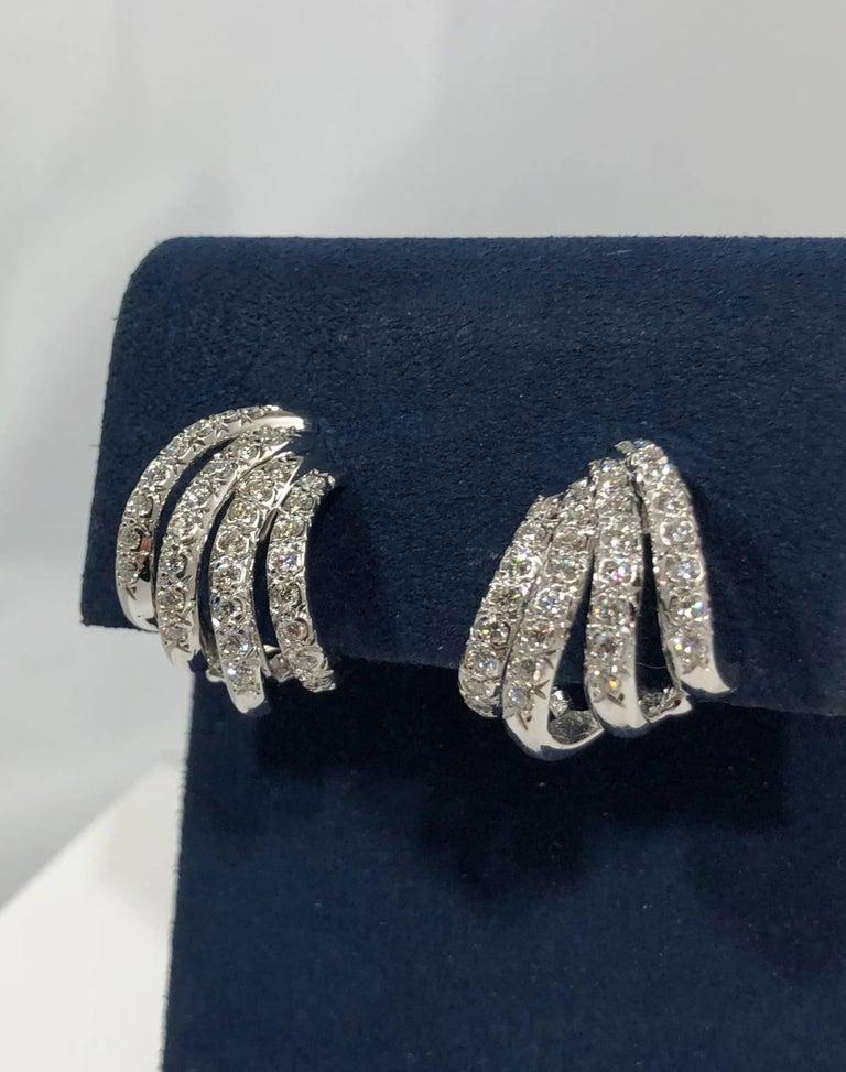 Henry Dankner & Sons 18 Karat White Gold and Diamond Climber Earrings For Sale 1