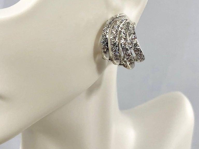 Henry Dankner & Sons 18 Karat White Gold and Diamond Climber Earrings For Sale 2
