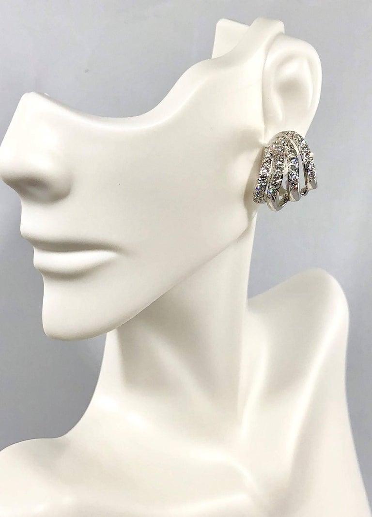 Henry Dankner & Sons 18 Karat White Gold and Diamond Climber Earrings For Sale 3
