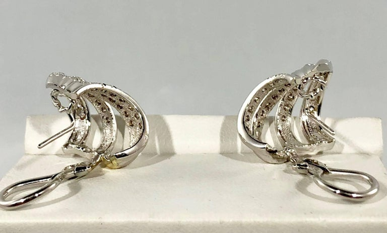 Henry Dankner & Sons 18 Karat White Gold and Diamond Climber Earrings For Sale 4