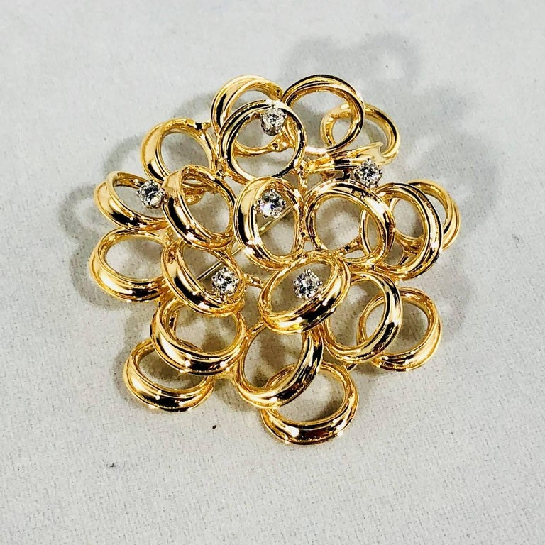 Round Cut Henry Dankner and Sons Vintage 14 Karat Gold and Round Diamond Modern Brooch For Sale