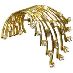 Henry Dankner & Sons 18 Karat Yellow Gold and Diamond Cascade Brooch