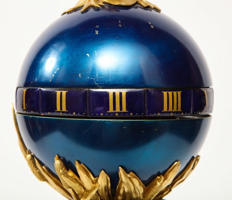 Henry Dasson, a French Gilt and Patinated Bronze Marble and Enamel Annular Clock For Sale 11
