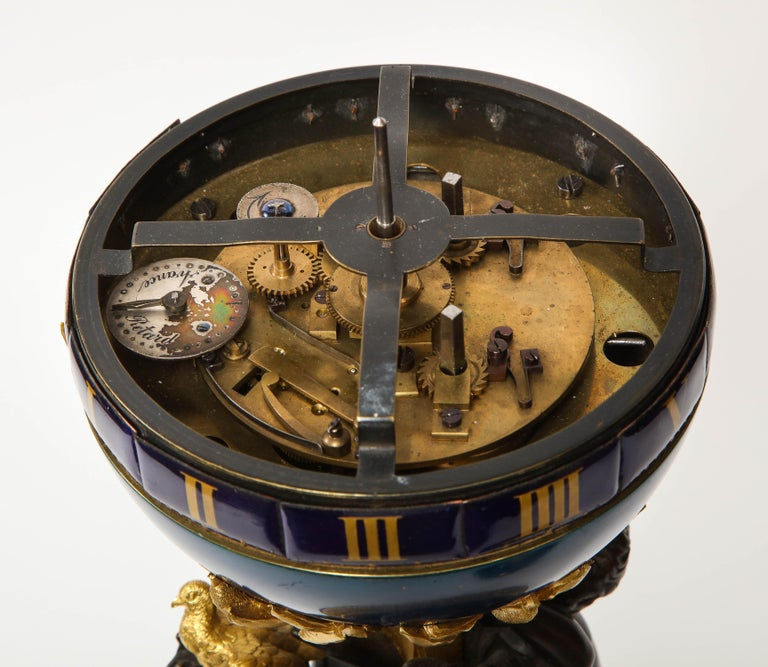 Henry Dasson, a French Gilt and Patinated Bronze Marble and Enamel Annular Clock For Sale 12