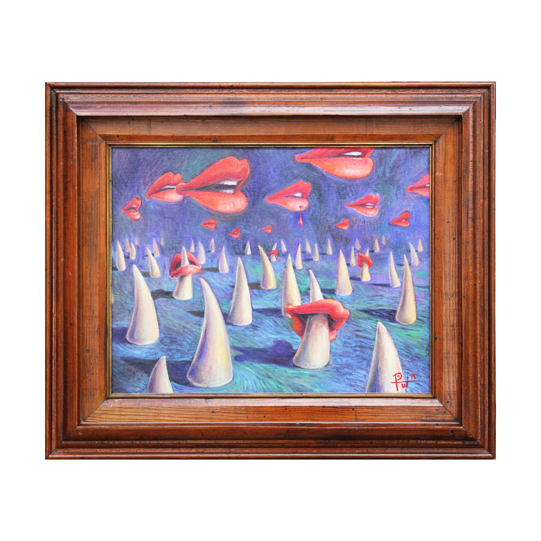 """""""Casualties of Love"""" Cool Toned Contemporary Surrealist Landscape Painting"""