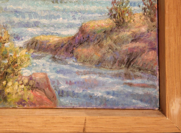 """""""Cliffside"""" Contemporary Impressionist Seaside Landscape Nature Painting For Sale 7"""