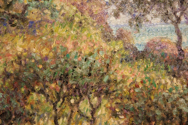 """""""Cliffside"""" Contemporary Impressionist Seaside Landscape Nature Painting - Brown Abstract Painting by Henry David Potwin"""