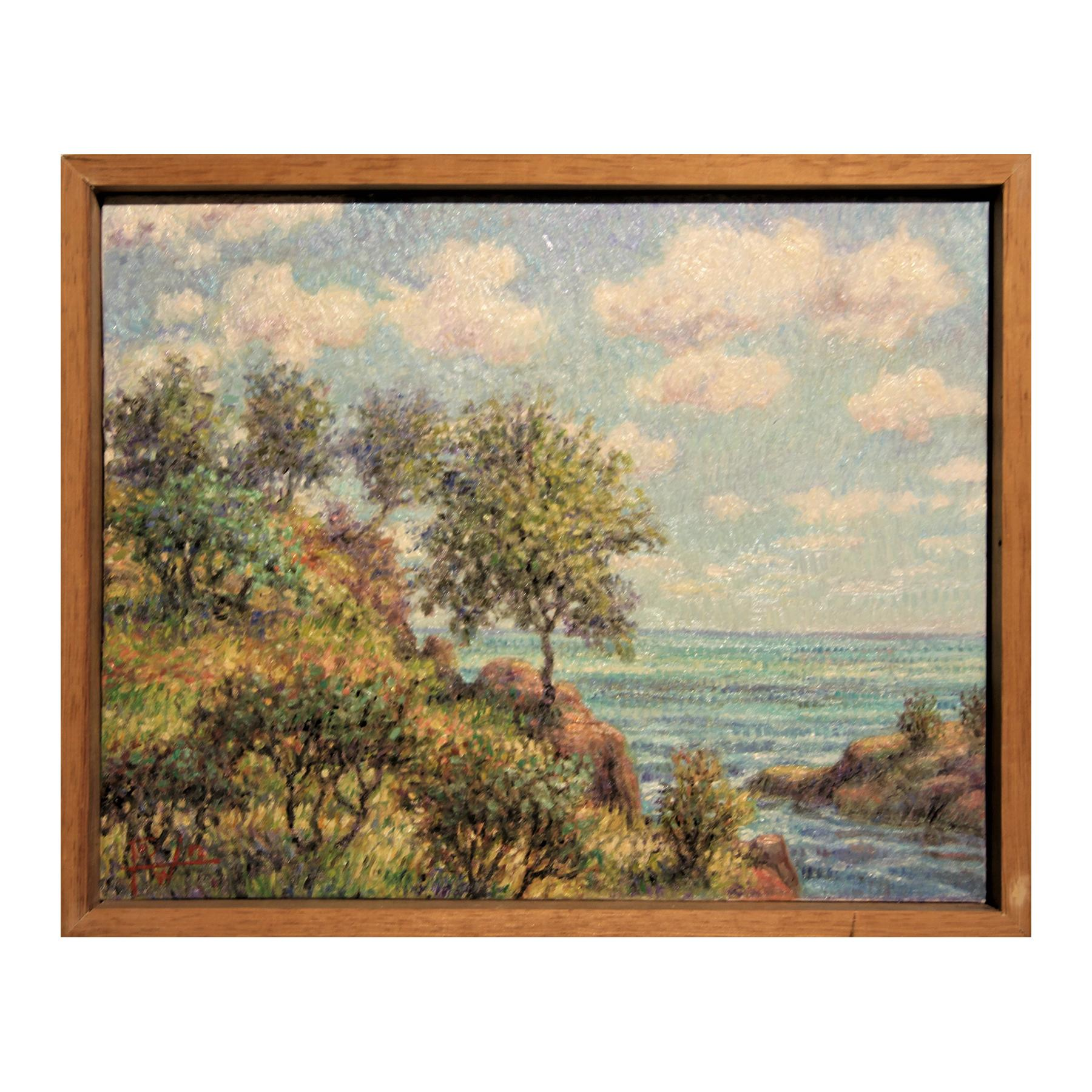 """""""Cliffside"""" Contemporary Impressionist Seaside Landscape Nature Painting"""