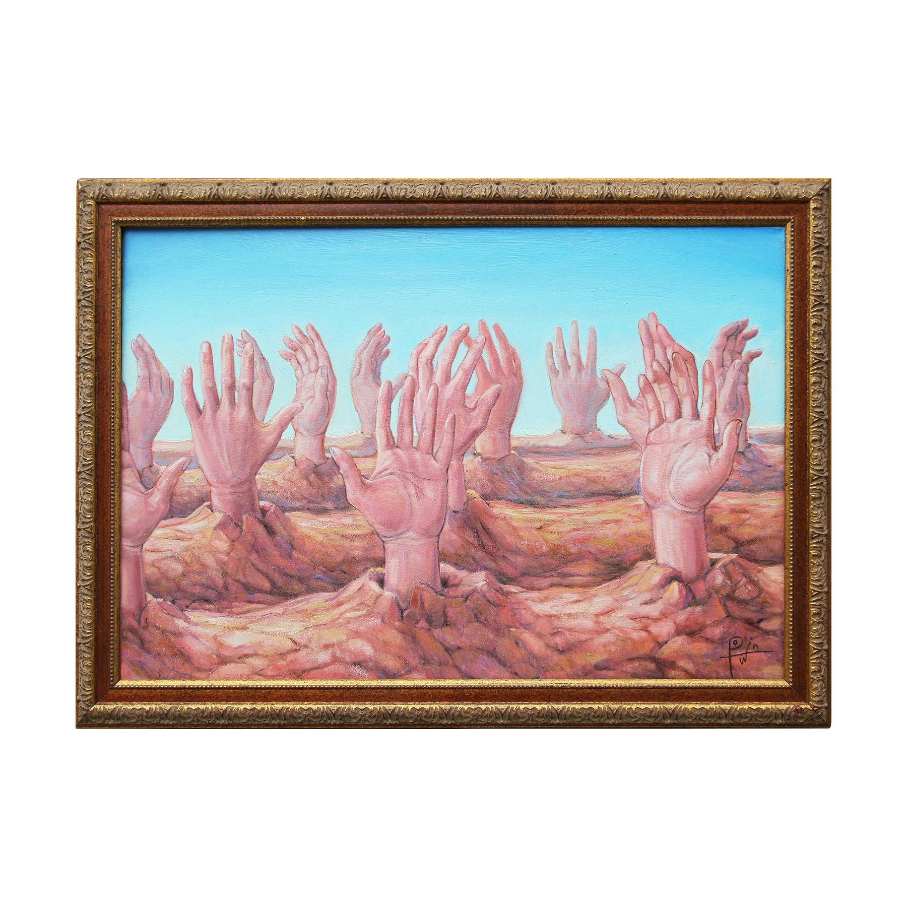 """""""From the Earth"""" Soft Hued Contemporary Surrealist Landscape Painting"""