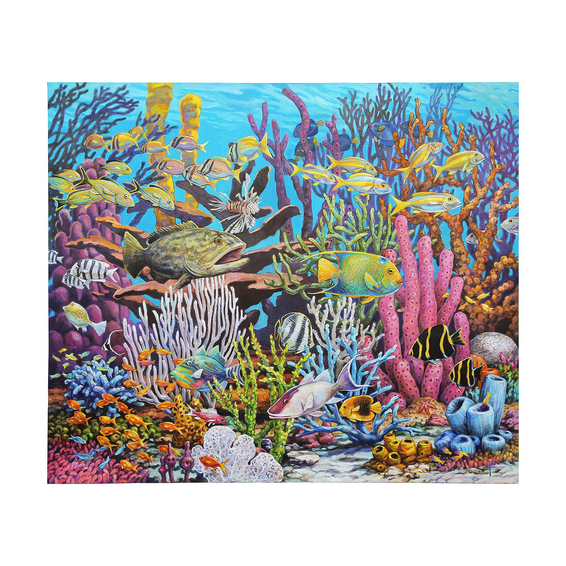 """""""Large Underwater Fish Painting"""" Colorful Realist Coral Reef Seascape Painting"""
