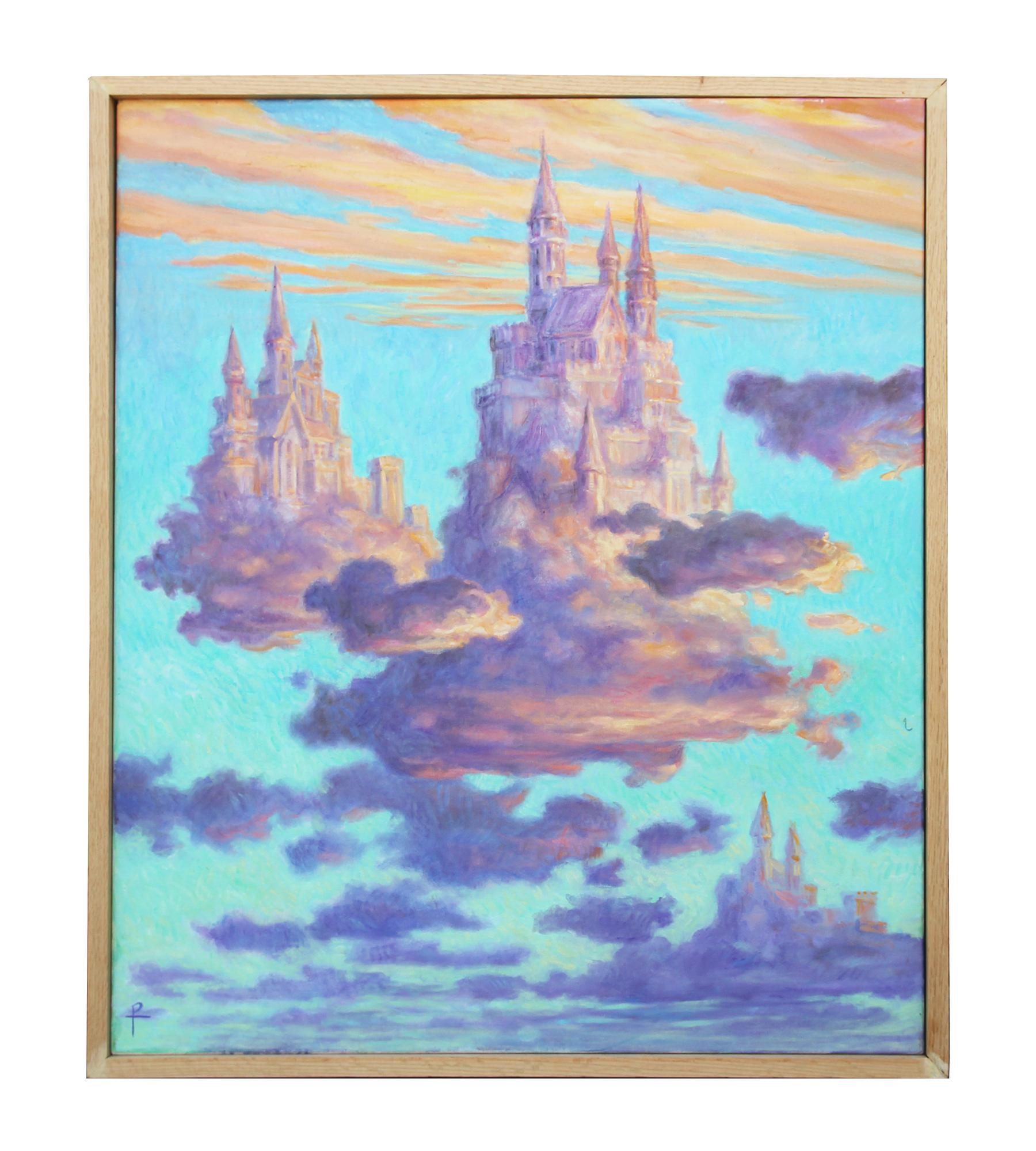 """""""Pastel Castle in the Sky"""" Soft Hued Contemporary Surrealist Landscape Painting"""