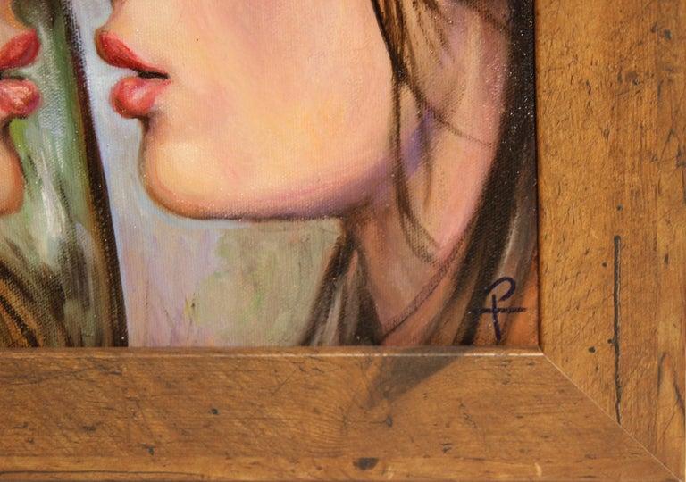 """""""Practice Kiss"""" Pastel Contemporary Surrealist Figurative Portrait of a Woman For Sale 1"""